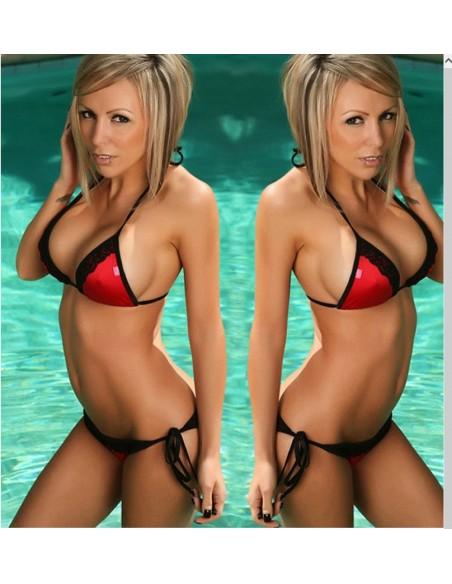 Costume da bagno Donna Sexy Bikini Rosso Con Inserti In Pizzo Nero