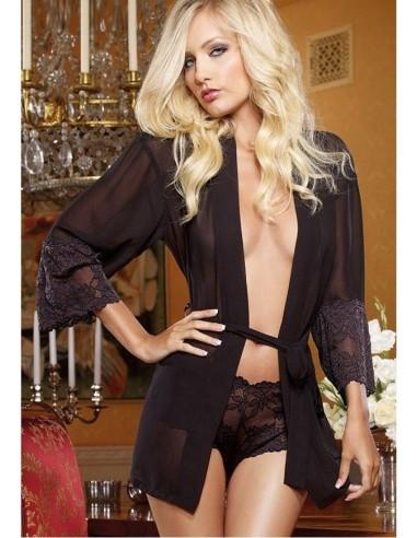 Vestaglia Nera Sexy Lingerie Tulle Con Inserti In Pizzo Culotte Lingerie Kimono
