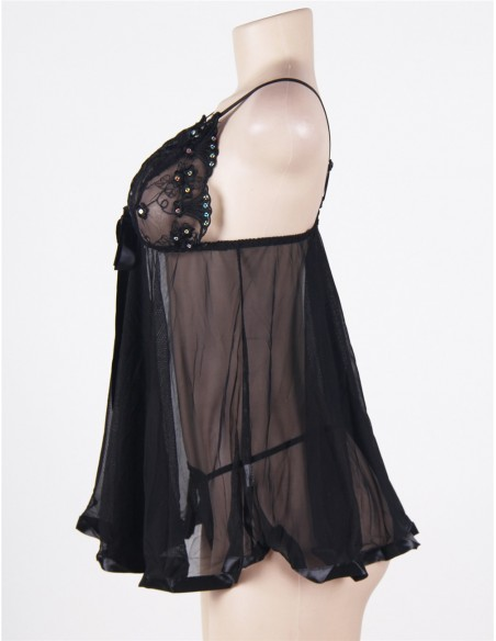 Sexy Lingerie Taglie Comode Babydoll Pizzo Nero Sottoveste Forti