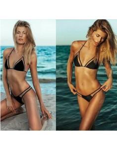 Costume Da Bagno Nero Con Microrete Trasparente Bikini Vita Bassa Foderato