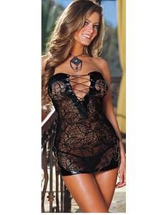 Sexy Lingerie Babydoll Chemise Nero Stringato Intimo Donna