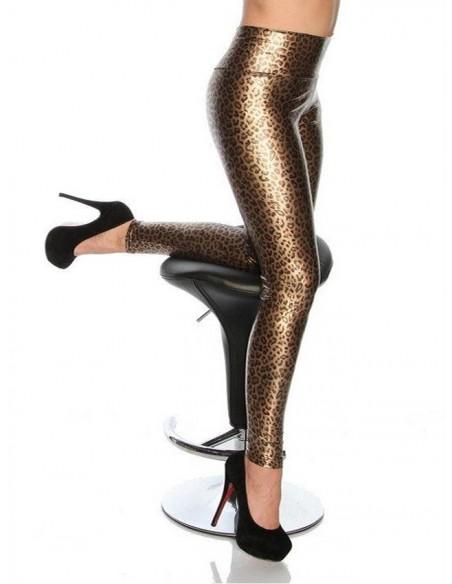 Leggings Leopardato Lucido Fuseaux Pantalone Pantacollant Lingerie