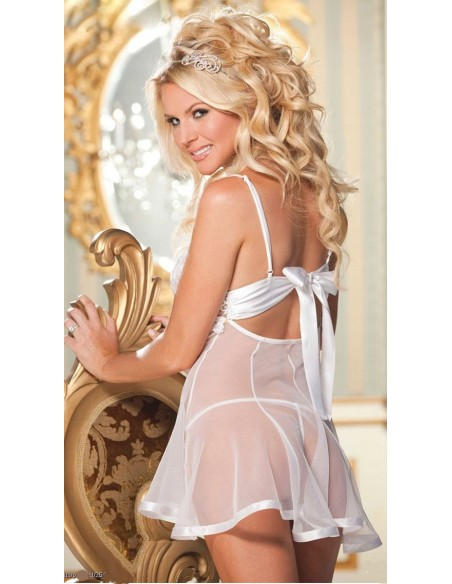 Babydoll Sexy Lingerie Bianco Pizzo Tulle Sposa Sottoveste Doll Con Perizoma