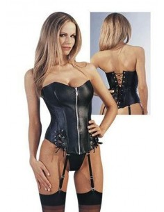 Sexy Lingerie Corsetto Bourlesque Ecopelle Bustino Nero Intimo Donna No Body