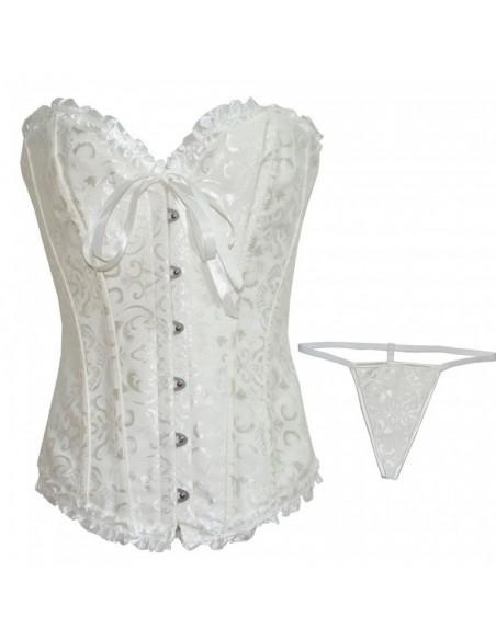 Sexy Lingerie Corsetto Bourlesque Bustino Bianco Top Broccato Taglia S M L Body