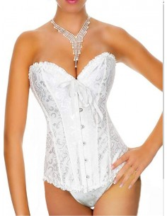 Sexy Lingerie Corsetto Bourlesque Bustino Bianco Top Broccato Taglia S M L Body