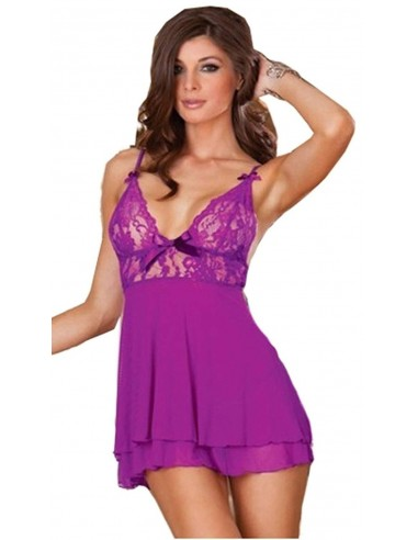 Babydoll intimo sottoveste pizzo gonna viola