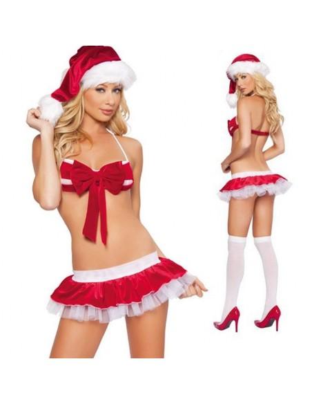 Sexy Costume Travestimento Babba Babbo Natale Donna Perizoma e Cappello