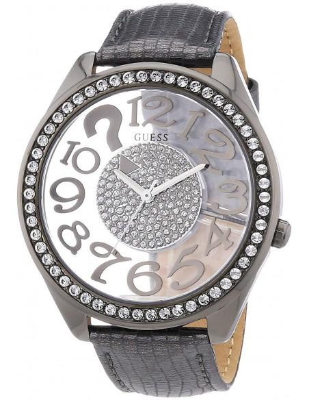 Orologio da polso Donna Guess Clearly Quiz W13096L2 Pelle Grigio Cristalli