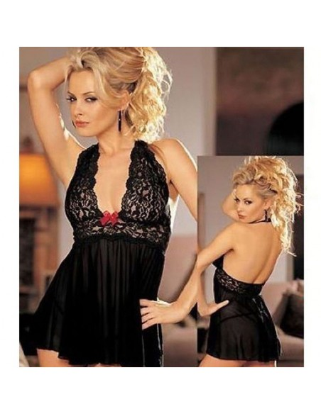 Baby doll Nero in Tulle Sottoveste Sexy Donna