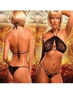 Completino Intimo Donna Nero Coppe In Pizzo Sexy Due pezzi Intimo Lingerie Body