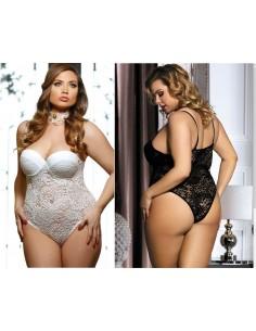 Taglie Forti Curvy Sexy Body Bianco E Nero Pizzo Intimo Donna Lingerie Comode