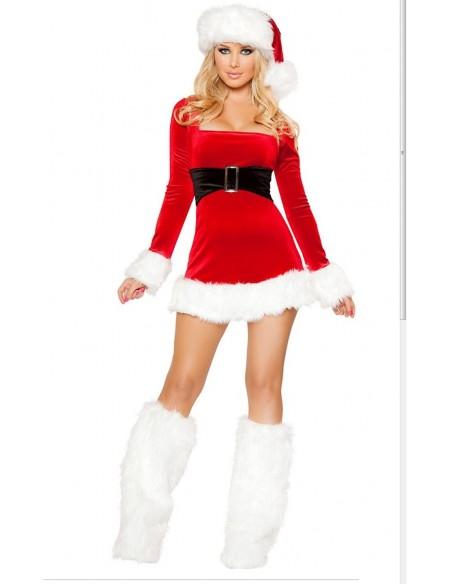 Babba Natale Hot Donna Travestimento Con Cappello Scaldamuscoli