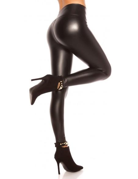 Leggings Nero Effetto Pelle Fuseaux Pantalone Lingerie Intimo Donna
