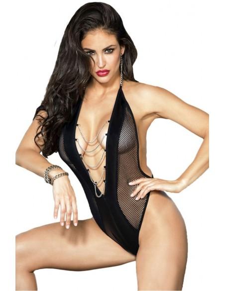 Sexy Body Teddy Donna Lingerie In Ecopelle Nero Con Manette Completino Intimo