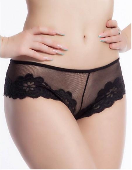 Sexy Culotte Slip Nero in Pizzo e Tulle Trasparente Intimo Donna Lingerie