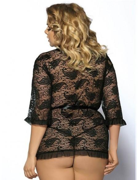 Vestaglia Donna Pizzo Nero Intimo Sexy Curvy